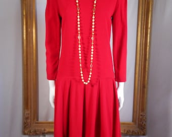 Vintage 1980's William Pearson Red Dress - Size 8