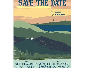 Vintage Adirondack Mountains Save the Date (set of 20)