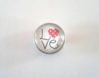 LOVE snap 18mm glass cabochon with a red heart with white dots