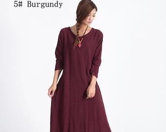 Linen maxi dress Women's cotton linen caftan Oversize loose Bridesmaid large size dress plus size clothing Custom_made dress A19