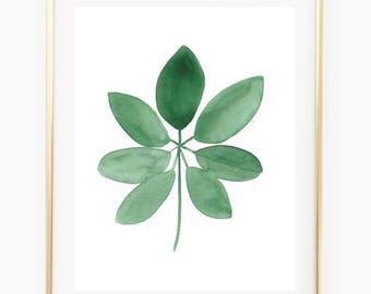 Tropical Leaf - Watercolor Art Print, plant, decor, gift for her, tropical, palm leaf, wall gallery