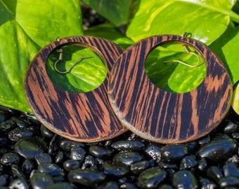 Wenge Wood Hoop Earrings