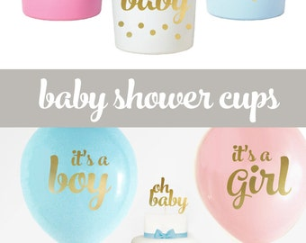 Gender Reveal Cups - Oh Baby Baby Shower Cups - It's a Girl Baby Shower Its a Boy Baby Shower (EB3104BB) - set of 25 CUPS