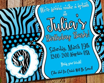 Birthday Party Invitation, Printable & Evite, Customized