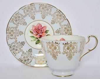 Paragon England Bone China Pink Rose Tea Cup and Saucer Set