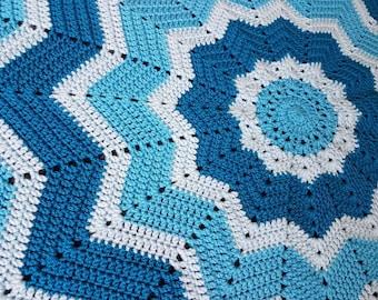 Handmade Crochet 12 point star blanket - baby blanket - made to order