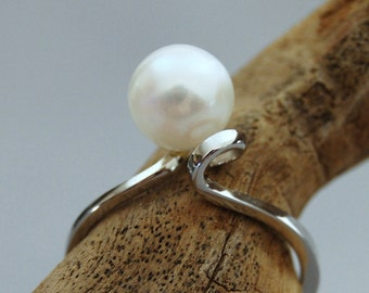 Fleur - White freshwater pearl ring, custom pearl ring, white pearl engagement ring, white pearl wedding ring, white gold wedding ring, gift