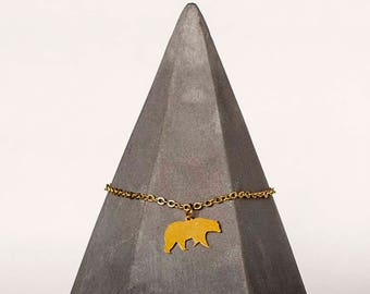 Gold Plated Bear Necklace