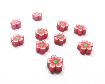 10 Clay flower beads. Red Flower beads with green centers. Polymer clay beads for jewelry and crafts