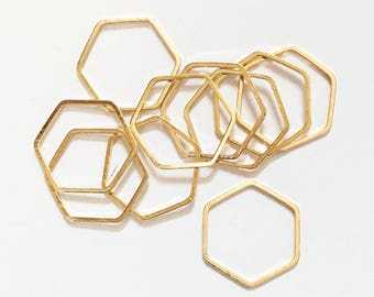 20 pcs of Light Gold plated brass double sided  Hexagon connector 16x18mm, bulk gold  linking connector