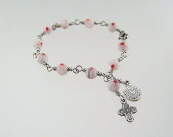 Holy Communion Bracelet with Millefiori Beads