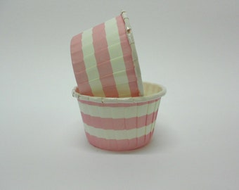 Pink Stripe Candy/Nut Cup - Candy, Nut, Cup, Cupcake, Rugby Stripe, Horizontal Stripe