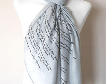 George Michael Scarf. Grey. Music lyrics scarf with 'A Different Corner' print. Poetry scarf.