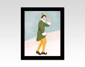 Elf Movie inspired Buddy the Elf watercolour effect print