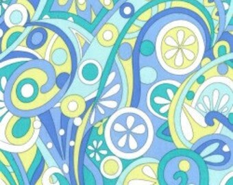 Michael Miller Mod Swirls in Aqua - 1 yard