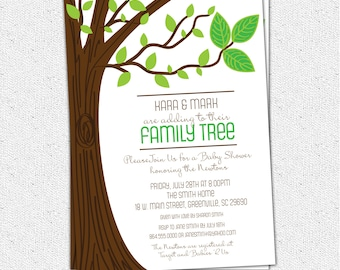 Family Tree Baby Shower Invitation, Printable, Three Leaves, Rustic, Boy or Girl Gender Neutral, DIY Digital File