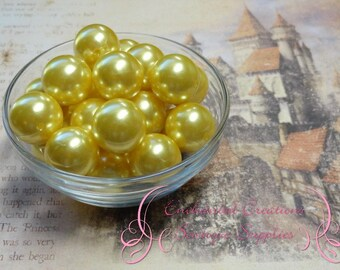 20mm Yellow Acrylic Pearl Beads Qty 10