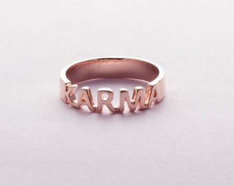 Ring Sweet words Karma Pink gold plated