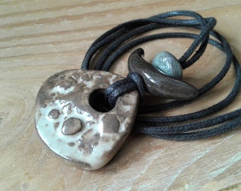 Natural necklace / Ceramic jewellery / Handmade necklace / Bohemian necklace / Abstract jewelry / Earthy jewelry / Unique ceramics