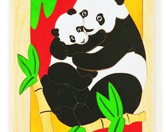 Panda cub and Mom - the cutest possibe expression of familial love in a wooden picture puzzle for kids 6 and up. Oppenheim Toy Award winner.
