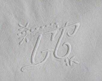 Vintage 30's bleached linen C.G. Art Nouveau initials embroidered sheet