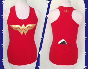 W. W. inspired Triathlon Tank with rear pocket