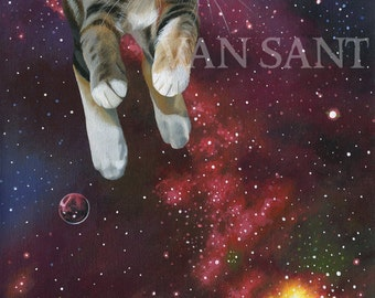 SPACE KITTY Original Painting - surreal cat in outer space original art by Susan Van Sant