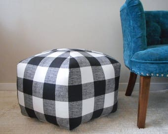Floor pouf in Black Plaid,  foot stool, floor pillow, plaid floor pouf, ottoman pillow - floor cushion - plaid foot stool