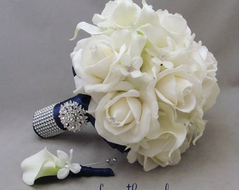 Navy White Wedding Flower Package Bridal Bouquet Stephanotis Real Touch Roses Calla Lily Groom's Boutonniere Pearl Rhinestone Accents Brooch