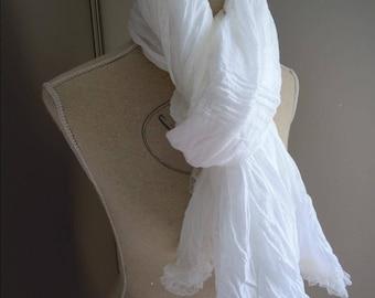 Scarf, light scarf women white cotton.