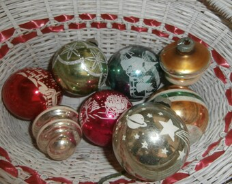 Vintage Christmas Shiny Brite mercury glass 2 1/4 to 3 inch ornaments decorations set lot 8 stenciled atomic Silent Night stagecoach village