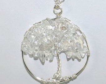 "Tree of Life Necklace with clear quartz - ""Ice Storm"" handmade silver pendant"