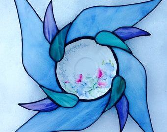 Stained glass plate.Pinwheel pattern.Orchids Bell China.Blue window.Floral glass art panel.China plate art.Table centerpiece.Abstract art