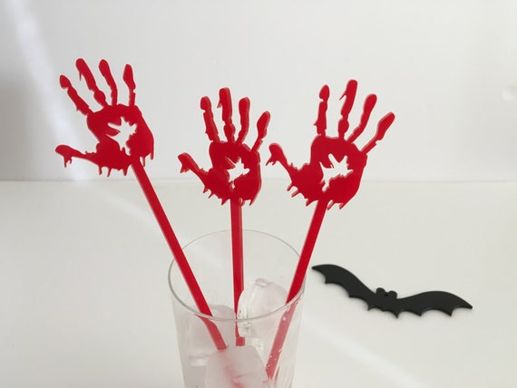 Zombie drink stirrers Party skeleton Zombie hands Bloody laser cut acrylic hand on sticks Zombie cake toppers Halloween party Drink stirrers