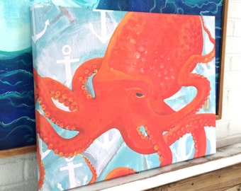 Octopus Canvas Giclee. Beach Decor, Lake House, Kids Room, Baby Nursery, Beach House, Beach Art, Sea Art, Gift. Mangoseed by Christina Rowe.