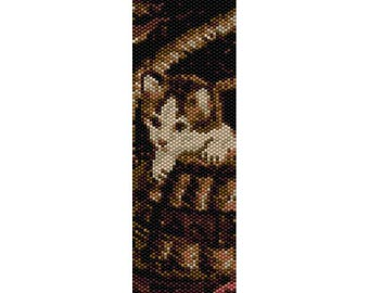 Kitten in Basket Peyote Bead Pattern, Bracelet Pattern, Bookmark Pattern, Seed Beading Pattern Delica Size 11 Beads - PDF Instant Download