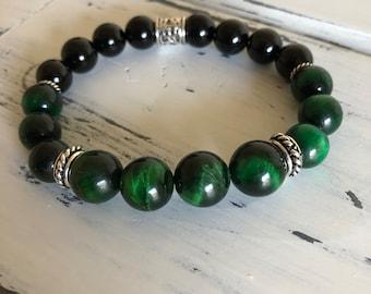 Men's Green Tiger Eye Bracelet