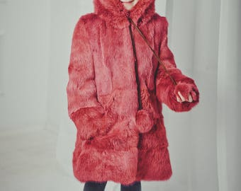 Bright fur coat for kids Fur jacket Long coat Winter Kids coat Baby coat Baby gift Kids clothing Girls coat Rabbit fur coat Girl's fur coat