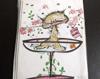 Vintage 1960s Gordon Fraser Greeting Card by Marion Wilson Good Luck