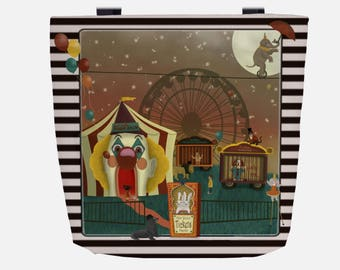 Whimsical Circus (Everyday Use) Black & White Striped Tote Bag