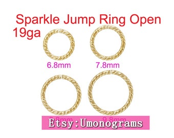 14K Gold Filled Jump Rings Sparkle Open 19ga 0.89mm 6.8mm,7.8mm,8.8mm,9.8mm Outside Diameter Yellow Wholesale Jewelry Findings 14kt GF