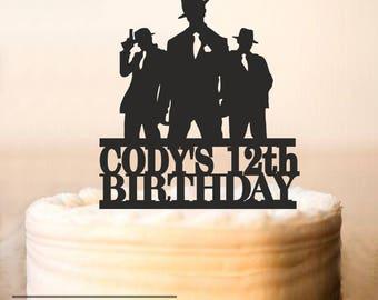 Gangster Cake Topper,Gangster Birthday Cake Topper,Gangster party,Gangster Silhouette,Birthday Cake Topper,Custom Cake Topper (0246)