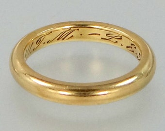 Victorian 18k Solid Gold Wedding Ring   Stacking Band