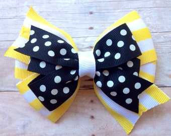 Yellow & black hair bow - hair bows, bows, hair bows for girls, baby bows, toddler hair bows, big hair bows, hairbows, hair clips, girls