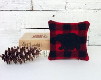 Black Bear Decor, Balsam Pillow, Rustic Home Decor, Buffalo Plaid Pillow, Cabin Pillows, Woodland Bear Pillow, Rustic Pillow, Small Pillow