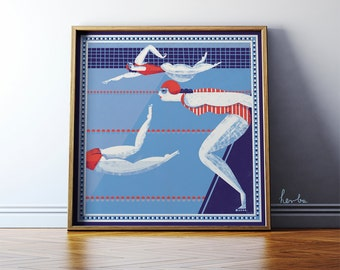 Sport gift. Swimming Pool. Olympics illustration art. Giclée print. 50x50 cm Poster. MUST HAVE 2016