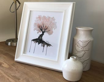 Digital Print, Cherry Blossom Tree Watercolour Painting