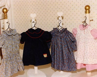 """Round Yoke Dresses and Pinafore Pattern for an 18"""" doll by Carol Clements"""