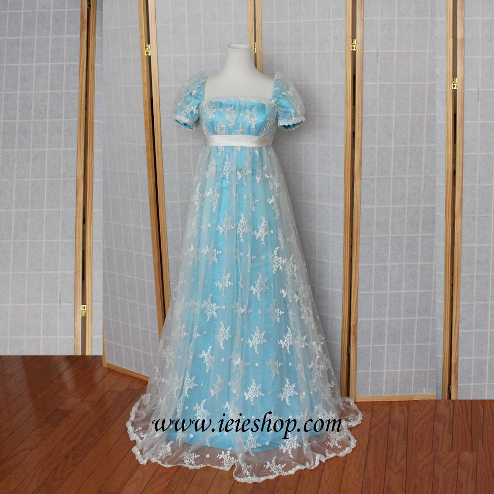 Regency princess ball gown inspired formal evening gown in for Regency style wedding dress