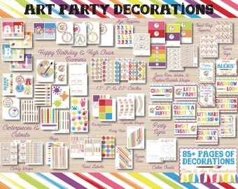 Art Birthday Party - Art Party - Art Birthday Decorations - Art Party Printables - Rainbow Birthday - Artist Party - Coloring Party - 1st Bi